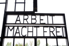 Arbeit macht frei. Words on gate in concentration camp from sachsenhausen Royalty Free Stock Image