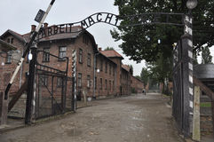 Arbeit Macht Frei. Entrance gate to concentration camp Auswitz in Oswiecim, Poland. Famous sign 'Arbeit Macht Frei Stock Photos