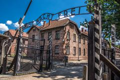 Auschwitz Birkenau Poland concentration camp during world war 2 royalty free stock photo