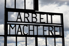 Arbeit Macht Frei gate. At sachsenhausen concentration camp Stock Photo