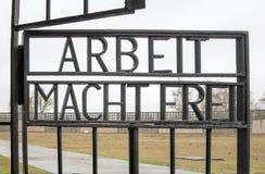 Arbeit Macht Frei - monumento nacional de Sachsenhausen imágenes de archivo libres de regalías