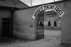 Arbeit Macht Frei - Nazi`s slogan. Terezin, Czech Republic - July 5, 2017: Arbeit Macht Frei work liberates - slogan in Terezin memorial, the former Royalty Free Stock Images
