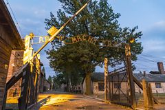 Arbeit macht frei sign in Auschwitz I concentration camp, Oswiec. `Arbeit macht frei` sign on the main entrance gateway to Auschwitz-Birkenau Auschwitz I Stock Image