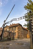 Arbeit macht frei sign in Auschwitz I concentration camp, Oswiec. `Arbeit macht frei` sign on the main entrance gateway to Auschwitz-Birkenau Auschwitz I Royalty Free Stock Photo