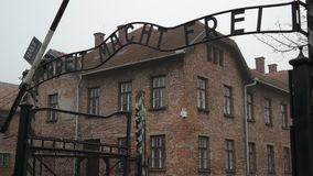 Arbeit macht frei. Sign on the main entrance gate in Auschwitz Royalty Free Stock Photos