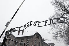 Arbeit macht frei sign (Work liberates), Auschwitz, Poland. Arbeit macht frei sign (Work liberates) in concentration camp Auschwitz, Poland Royalty Free Stock Photo