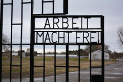 Arbeit macht frei - work makes (you) free at the door of the labour ( concentration) camp in Germany. Sachsenhausen or Sachsenhausen-Oranienburg was a Nazi Royalty Free Stock Photography