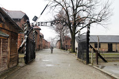Arbeit macht. The historic gate of the nazi camp of auschwitz near cracow in poland Royalty Free Stock Photography