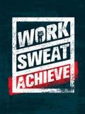 arbeit schweiß achieve Trainings-und Eignungs-Motivations-Zitat Kreatives Vektor-Typografie-Schmutz-Fahnen-Konzept lizenzfreie abbildung