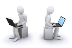 Arbeiten am Computer oder am Notizbuch vektor abbildung