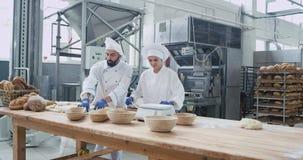Arbeiten konzentriert zwei Bäckern sehr charismatisch in einer Handelsbäckereifabrik, die Stücke Teig für backendes Brot bildet stock footage