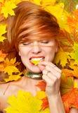 Arbeiten Sie Art lächelndes frohes haltenes yel Herbst der glücklichen Fallfrau um Stockbilder