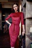 Arbeiten Sie Artfrauenabnutzung den roten dünnen schönen Kleiderzusatz um Stockfoto