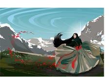 Arbeiten Sie asiatisches Mädchen in den Bergen mit roten Blumen um Stockbild