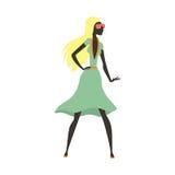 Arbeiten Sie Blickmädchenschattenbild die schöne Mädchenfrau um, die weiblich und hübsch ist, jung, vorbildlich, Art, Haar, Damen Lizenzfreie Stockfotos