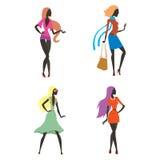 Arbeiten Sie Blickmädchenschattenbild die schöne Mädchenfrau um, die weiblich und hübsch ist, jung, vorbildlich, Art, Haar, Damen Lizenzfreies Stockfoto