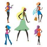 Arbeiten Sie Blickmädchenschattenbild die schöne Mädchenfrau um, die weiblich und hübsch ist, jung, vorbildlich, Art, Haar, Damen Lizenzfreies Stockbild