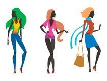 Arbeiten Sie Blickmädchenschattenbild die schöne Mädchenfrau um, die weiblich und hübsch ist, jung, vorbildlich, Art, Haar, Damen Stockfotografie