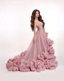 Arbeiten Sie Brunettefrau im herrlichen langen rosa Kleid um, das isolat aufwirft Stockbild