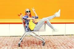 Arbeiten Sie das kühle lächelnde Mädchen um, das den Spaß hat, der im Einkaufslaufkatzenwarenkorb sitzt Lizenzfreie Stockfotografie