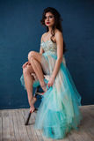 Arbeiten Sie Foto des tragenden funkelnden Abendkleides schöner Dame um Stockfotos