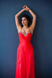 Arbeiten Sie Foto schöner Dame im eleganten Abendkleid um lizenzfreies stockbild