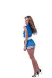Arbeiten Sie Frau im Blau c-durch Bluse, BH und kurze Hosen um Lizenzfreie Stockbilder