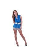 Arbeiten Sie Frau im Blau c-durch Bluse, BH und kurze Hosen um Lizenzfreies Stockbild