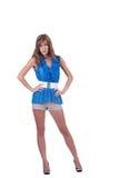 Arbeiten Sie Frau im Blau c-durch Bluse, BH und kurze Hosen um Lizenzfreies Stockfoto