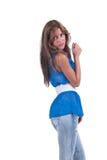 Arbeiten Sie Frau im Blau c-durch Bluse, BH und weißen Gurt um Lizenzfreie Stockfotos