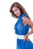 Arbeiten Sie Frau im Blau c-durch Bluse, BH und weißen Gurt um Stockfotos