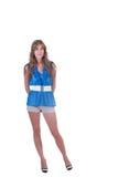Arbeiten Sie Frau im Blau c-durch Bluse, BH und weißen Gurt um Stockfoto