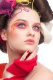 Arbeiten Sie Frau mit Gesichtskunst in strickender Art um Lizenzfreies Stockbild