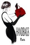 Arbeiten Sie Frauenmodell im schwarzen Kleid mit Handtasche um lizenzfreie abbildung