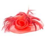 Arbeiten Sie Haar accessoriesmade der roten Feder und des Nylons auf weißem b um Stockfotografie
