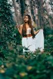 Arbeiten Sie herrliche junge Frau im schönen weißen Kleid in einer Märchenwaldmagieatmosphäre um Stockbild