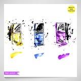 Arbeiten Sie Illustration mit gelbem, blauem und purpurrotem Nagellack um lizenzfreie abbildung