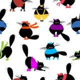 Arbeiten Sie Katzen, nahtloses Muster für Ihre Auslegung um Lizenzfreie Stockbilder