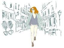Arbeiten Sie Mädchen in der Großstadt auf dem Hintergrund der Architektur um Lizenzfreie Stockbilder