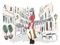 Arbeiten Sie Mädchen in der Großstadt auf dem Hintergrund der Architektur um Stockfotografie