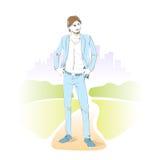 Arbeiten Sie Mannpark den im Freien, männliches vorbildliches Abnutzungsblau um stock abbildung