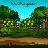 Arbeiten Sie mit Zitrusfrucht und grünen Bäumen in der Blüte im Garten stock abbildung