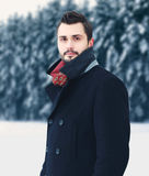 Arbeiten Sie Porträt den hübschen eleganten bärtigen Mann um, der schwarzen Mantel im Winter über schneebedecktem Baumwaldhinterg lizenzfreie stockfotografie