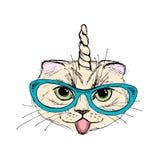 Arbeiten Sie Porträt Unicat, nette Katze mit Horn um, Stockbilder
