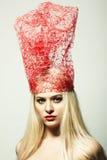 Arbeiten Sie Portrait der blonden Frau um Stockfotografie
