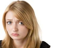 Arbeiten Sie Portrait des schönen blonden Mädchens um stockfotografie