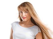 Arbeiten Sie Portrait des schönen blonden Mädchens um stockbilder