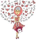 Arbeiten Sie träumendes Mädchen der Illustration im Kleid im Vektor auf weißem Hintergrund um Stockbild