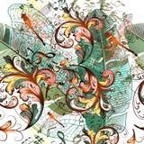Arbeiten Sie Vektorillustration mit Libellen, Musikanmerkungen und pl um Lizenzfreies Stockbild