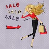 Arbeiten Sie Verkaufsanzeige, Einkaufsmädchen mit Taschen um Lizenzfreies Stockbild